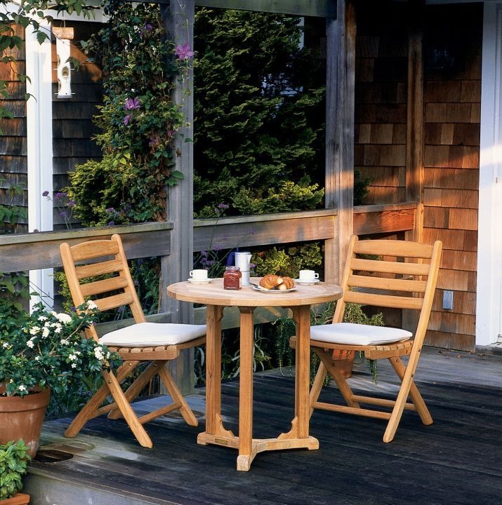Kingsley Bate Gearhart Folding Side Chairs Shown With Essex 30 Round Bistro Table