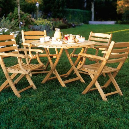 Kingsley Bate Gearheart Folding Arm Chair Shown with Newport 42 Round Folding Dining Table