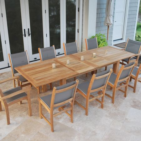 Kingsley Bate Hyannis Extension Table Fully Extended, Shown With St. Tropez Arm & Side Chairs