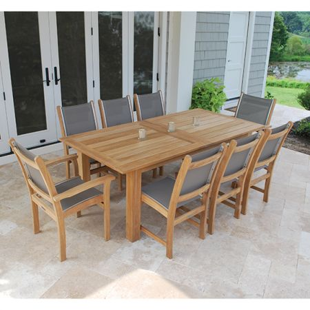 Kingsley Bate Hyannis Extension Table With Two Self Storing Leaves, Shown With St. Tropez Arm & Side Chairs