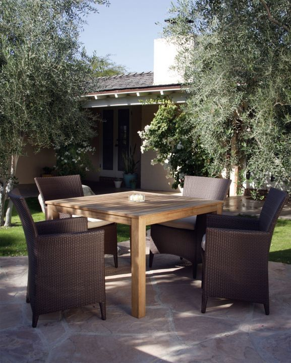 Kingsley Bate Vieques Dining Arm Chairs Shown with 42 Square Wainscott Dining Table