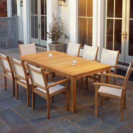 Kingsley Bate Wainscott 85 Rectangular Dining Table Shown with St. Tropez Stacking Dining Arm Chairs