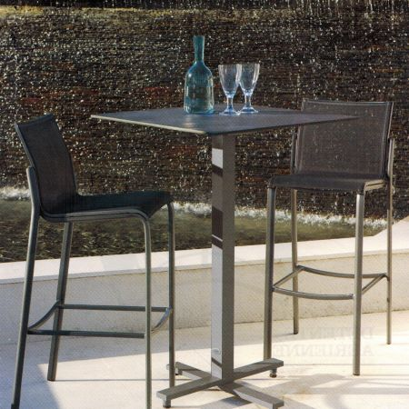 Les Jardins Bistro Table Shown With Stools