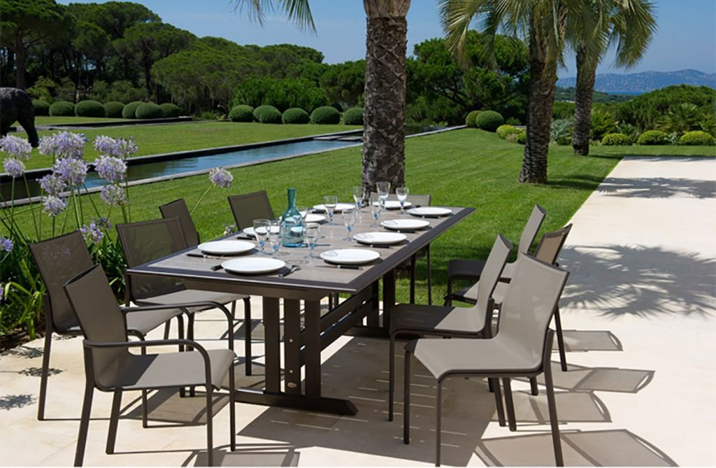 Les Jardins Hegoa Extension Dining Table Shown With Stacking Arm And Side Chairs