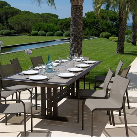 Les Jardins Hegoa Extension Dining Table Shown With Hegoa Stacking Arm And Side Chairs