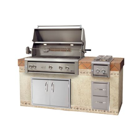 Luxor AHT-42RCV-L-BI 42 Inch Built-In Grill With Rotisserie. Shown With 36 inch Medallion Double Doors And Double Drawers. Along With A Double Side Burner