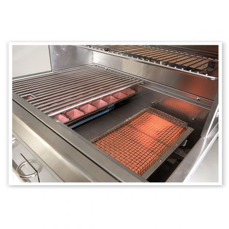 Luxor Grill Highlighting Its Infrared Burner, Next To Its Convection Style Burner Covered With Ceramic Rock And Topped With A Heavy Duty Stainless Steel Cooking Grate.