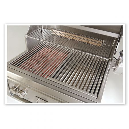 Luxor Grill Offers A Close-Up Of Its Unique Stainless Steel Cooking Grates.