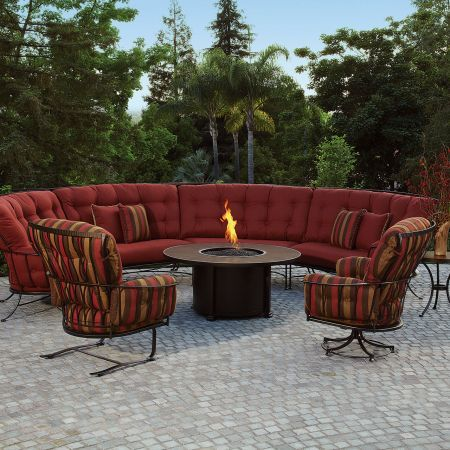 Monterra Sectional Shown With A Fire Pit, Spring Base And Swivel Rocker Lounge Chair