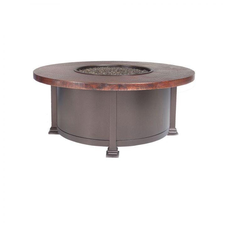 OW Lee Casual Fireside 42″ Round Hammered Copper Occasional Height Fire Pit