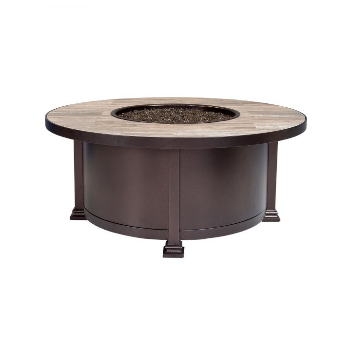 OW Lee Casual Fireside 42″ Round Santorini Occasional Height Fire Pit