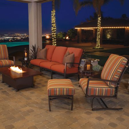 OW Lee Casual Fireside 50X30 Rectangular Hammered Copper Occasional Height Fire Pit