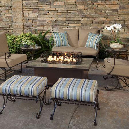 OW Lee Casual Fireside 50X30 Rectangular Santorini Occasional Height Fire Pit