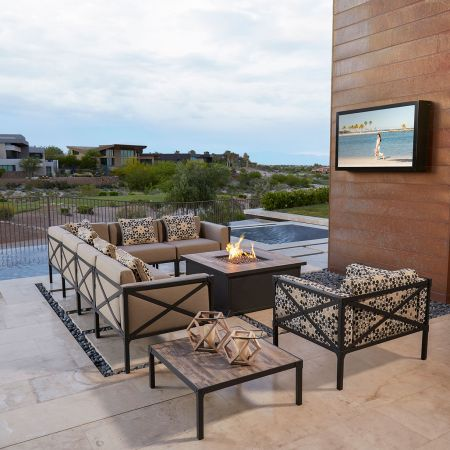 OW Lee Creighton 6 Piece Sectional Shown With Fire Pit And Sectional End Table