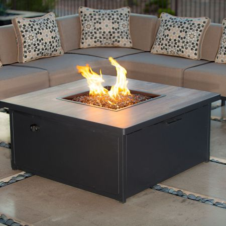 OW Lee Creighton Fire Pit Shown With 6 Piece Sectional And Lounge Chair