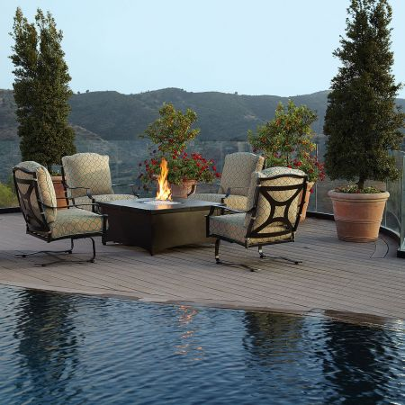 OW Lee Madison Spring Base Lounge Chairs Around A Square Fire Pit