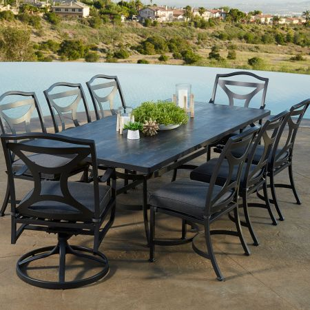 OW Lee Porcelain Tile Dining Table Shown With Madison Dining Swivel Rockers And Dining Side Chairs