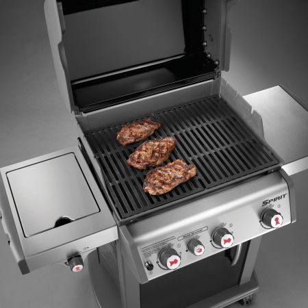 Porcelain-Enameled, Cast-Iron Cooking Grates Provided On The Weber Spirit E-330 Gas Grill