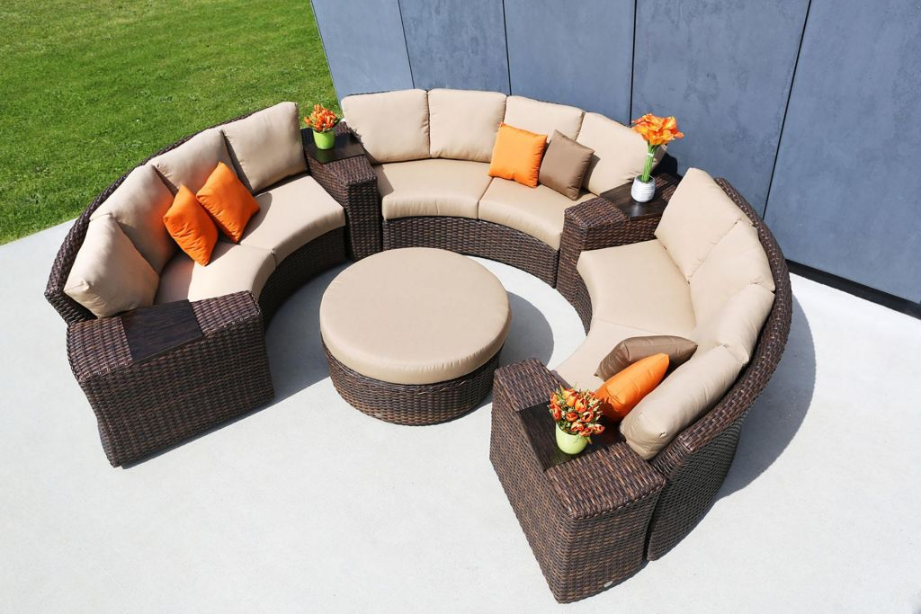 ... Ratana Portfino Sectional Shown With 3 Wedge Sofas, 4 Wedge End Tables  And