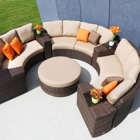 Ratana Portfino Sectional Shown With 3-Wedge Sofas, 4-Wedge End Tables and 1- Round Ottoman