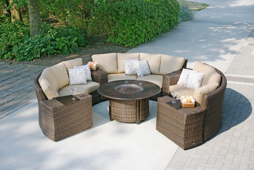 ... Tables And; Ratana Pozzo Fire Pit Shown With 7pc Portfino Sectional