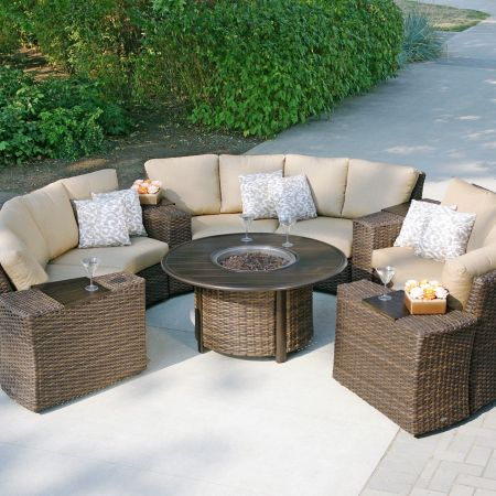 Ratana Pozzo Fire Pit Shown With 7pc Portfino Sectional