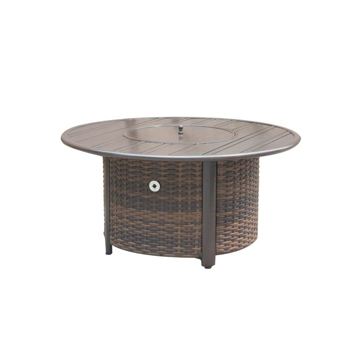 Ratana Pozzo Woven Base With A 48″ Round Arlington Top And Lid Fire Pit