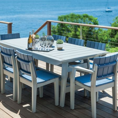 Seaside Casual Mad Fusion Gray And Slate 9 Piece Dining Set