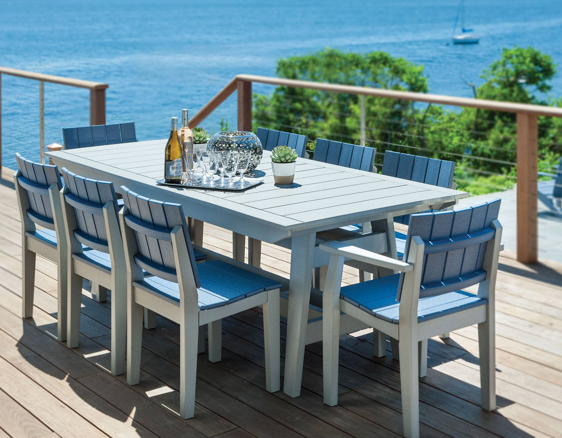 Seaside Casual Mad Fusion Gray And Slate 9 Piece Dining
