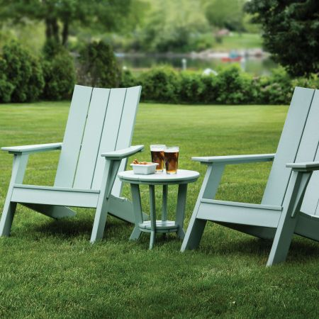 Seaside Casual Mad Fusion Sage Adirondack Chairs Shown With A Side Table