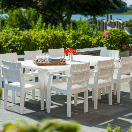 Seaside Casual Mad Fusion White 9 Piece Dining Set