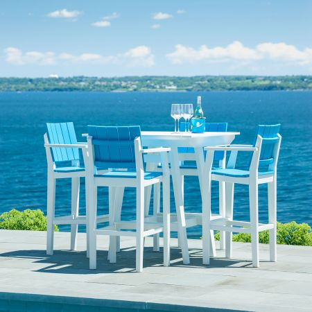 Seaside Casual Mad Fusion White And Pool 5 Piece Balcony Set