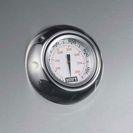 Stainless Steel Lid With Built-In Temperature Gauge On All Weber Summit Gas Grills