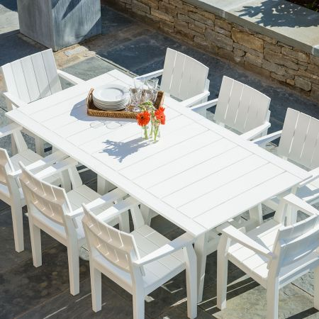 TopView Of Seaside Casual Mad Fusion White 9 Piece Dining Set