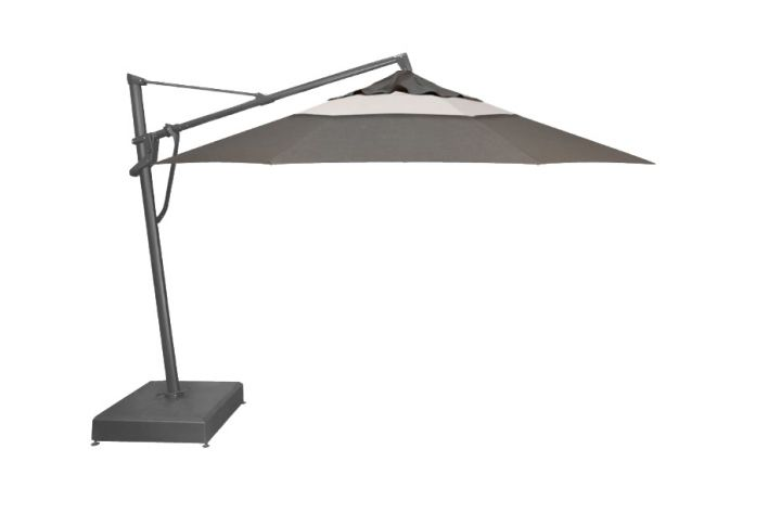 Treasure Garden 13′ Plus Cantilever Umbrella – Cast Slate with Canvas Accent