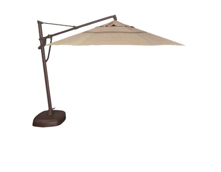 Treasure Garden AKZP00D 11′ Plus Cantilever Umbrella – Taupe Rib