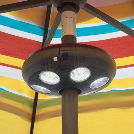 Treasure Garden Large Vega Umbrella Light Mounted on an Umbrella