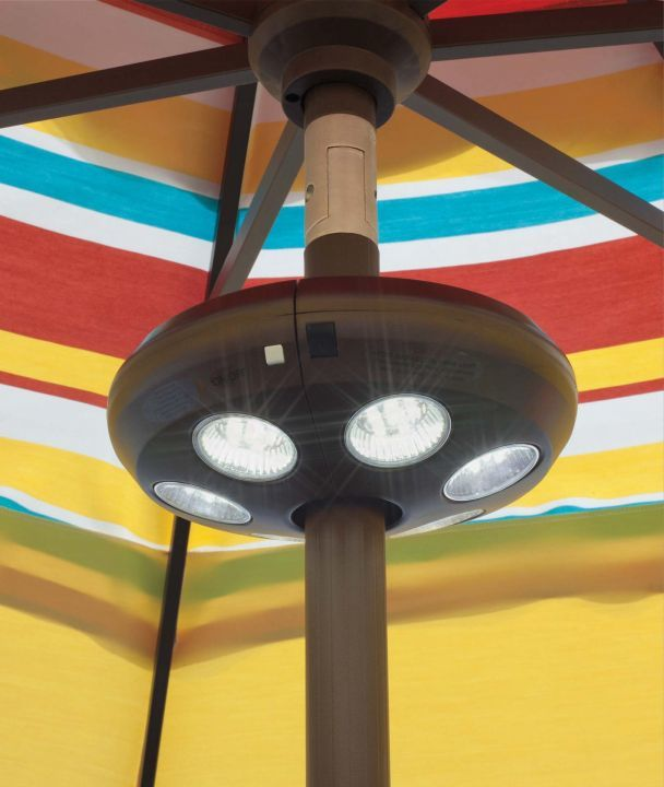 Treasure Garden Large Vega Umbrella Light Mounted on an Umbrella