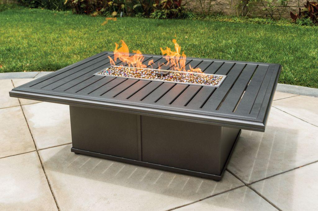 Rectangular fire pit rectangle concrete fire table fire for Rectangular stone fire pit