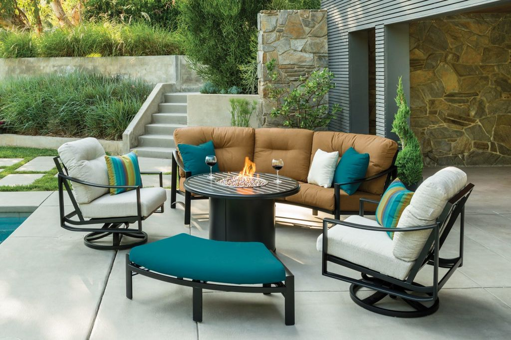 ... Tropitone Kenzo Cushion Cresent Sofa, Cresent, Pair Of Swivel Action  Lounge Chairs, And ...