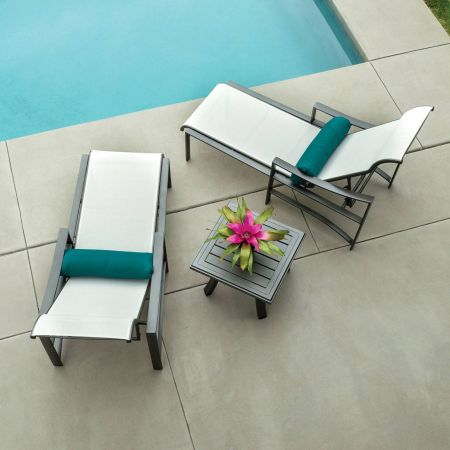 Tropitone Kenzo Sling Chaise Lounges Shown with 24 Square Banchetto End Table- Aerial View