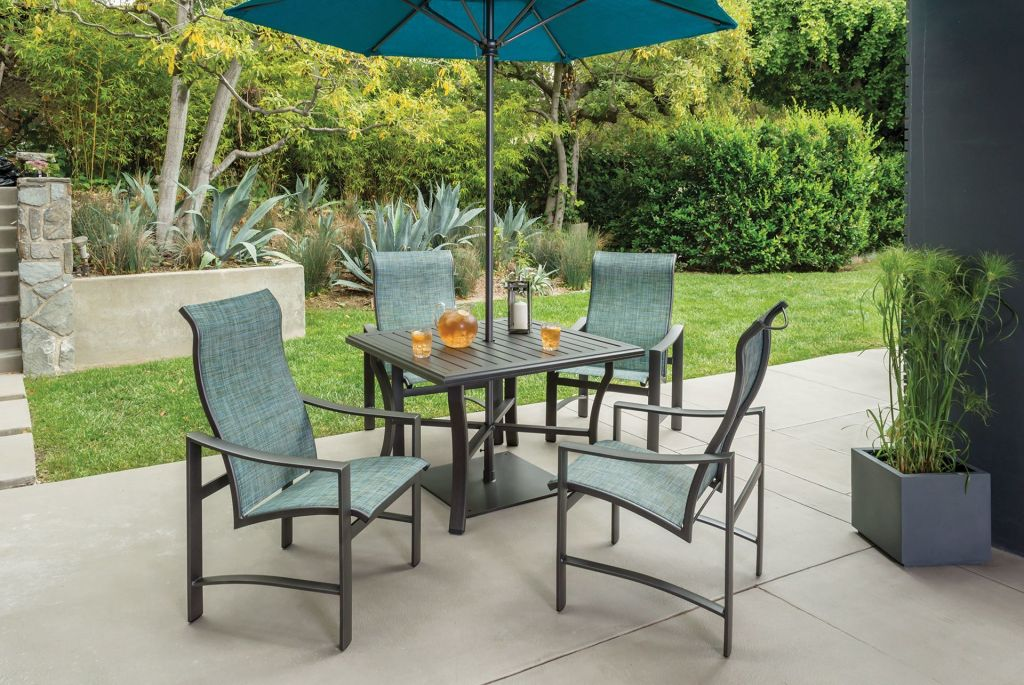 ... Tropitone Kenzo Sling High Back Dining Chairs Shown With 42 Square  Banchetto Dining Table ...