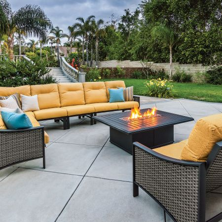 Tropitone Kenzo Woven 6 Piece Sectional Shown With A Banchetto Fire Pit And Woven Kenzo Loveseat